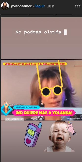 Historia de Instagram de Yolanda Andrade con canción incluida