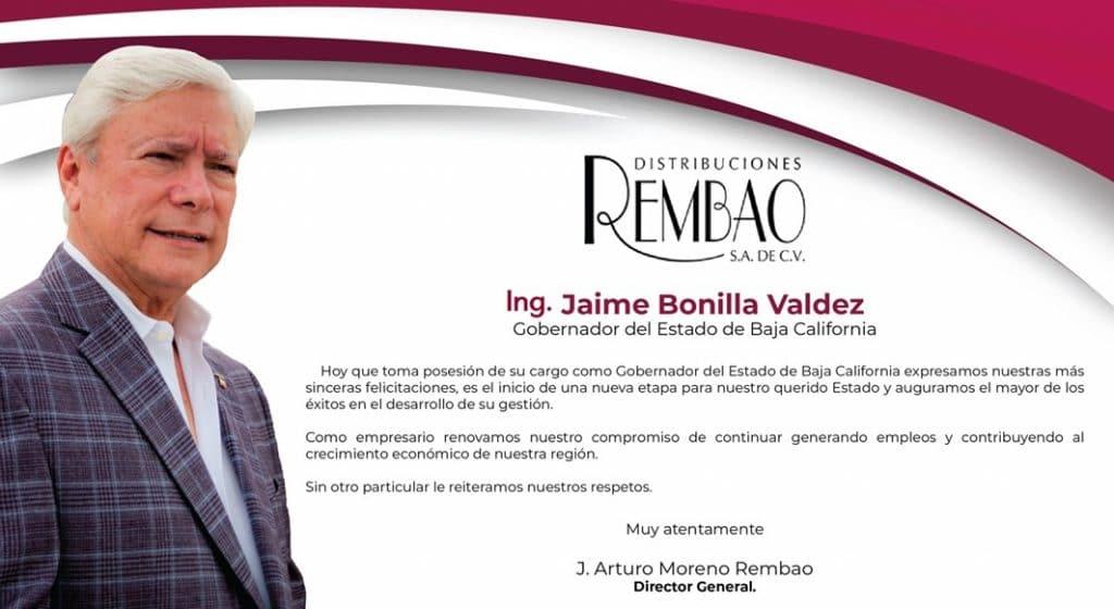 REMBAO felicitación a Jaime Bonilla