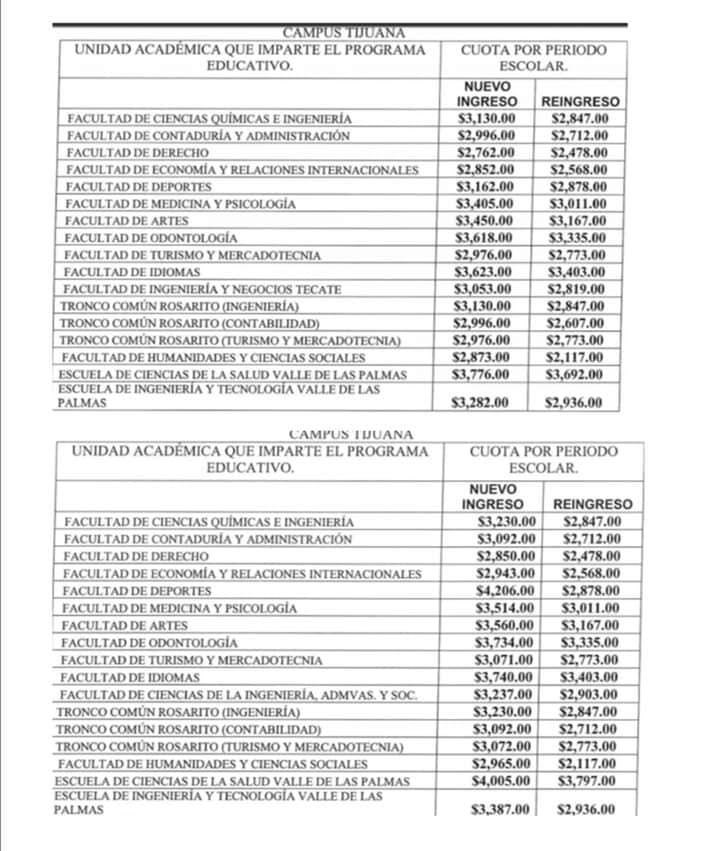 Aumento de colegiaturas en UABC