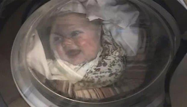 Photo of Papá se lleva tremendo susto al ver el rostro de su hijo en la lavadora