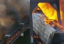 Photo of VIDEO: Tren se descarrila y provoca fuerte incendio