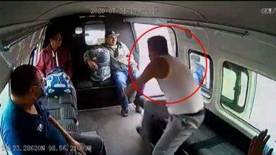 Photo of VIDEO: Quería asaltar combi y pasajeros le dan brutal golpiza