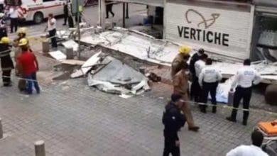 Photo of Colapsa marquesina de zapatería y mata a una joven