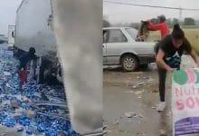 Photo of VIDEO: Vuelca tráiler con cerveza y hacen rapiña