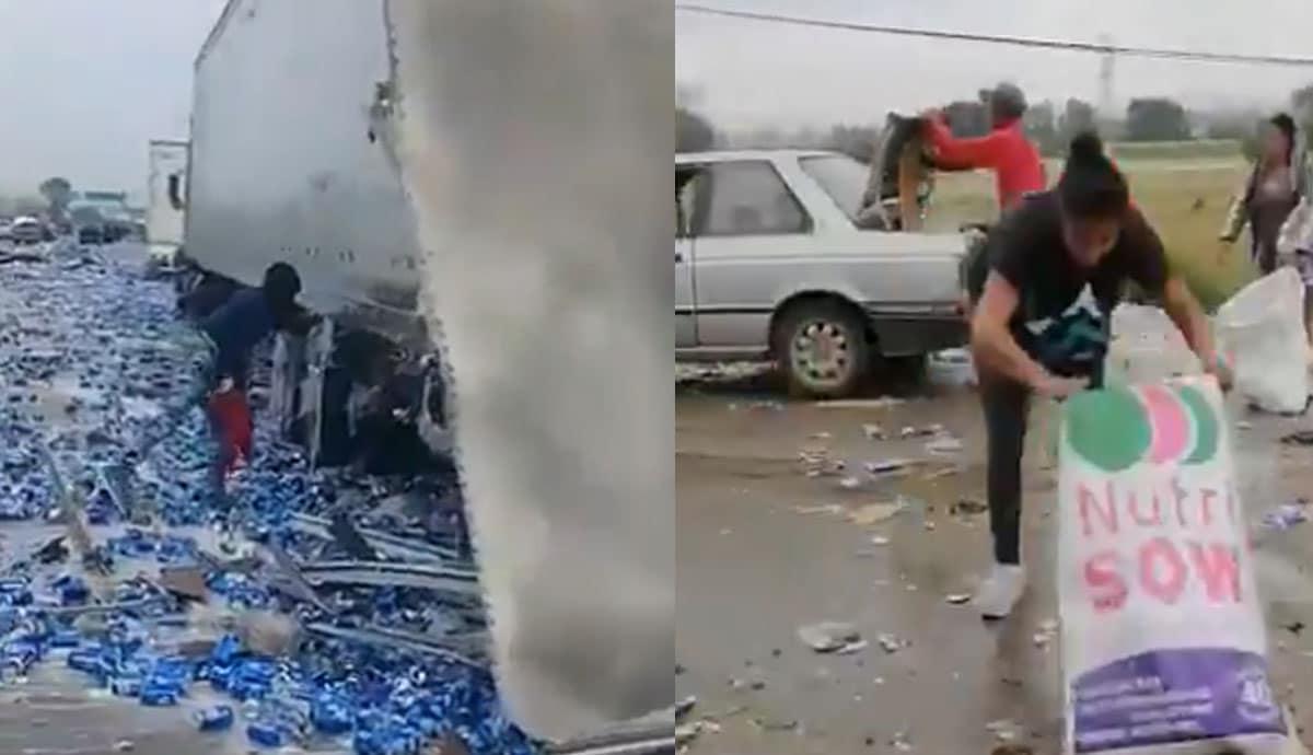 VIDEO-Vuelca-tráiler-con-cerveza-y-hacen-rapiña