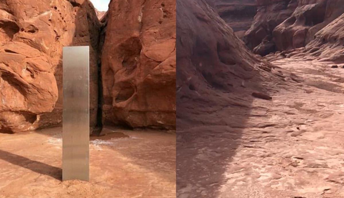 VIDEO-Hallan-misterioso-monolito-metálico-en-el-desierto